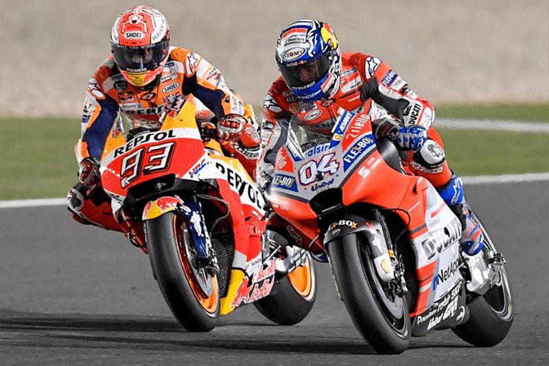 Dovizioso e Marc Márquez fizeram grande prova e protagonizaram duelo de gigantes nas voltas finais da MotoGP no Catar. No final, a vitória coroou o desempenho magistral de Dovi