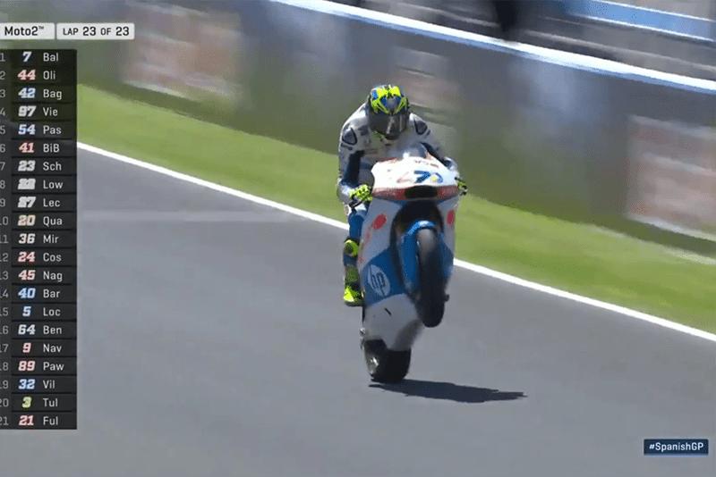 Lorenzo Baldassarri venceu a prova e é o segundo no Mundial de Moto2. Miguel Oliveira, segundo em Jerez, já está confirmado para pilotar uma KTM da equipe Tech3 na MotoGP em 2019