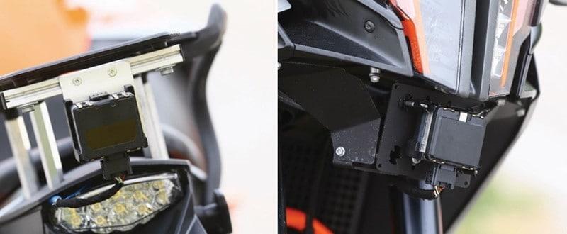 Sensores dianteiro e traseiro instalados na KTM Adventure