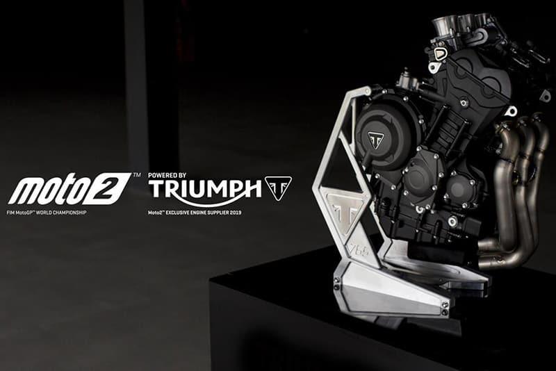 O motor de três cilindros Triumph de 765 cm³ foi preparado pela inglesa especialmente para o Mundial, com uma série de aprimoramentos para o uso em pista