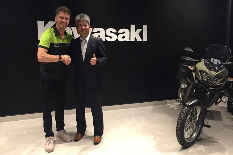 Andre Riviello e Keiji Yasutake, presidente da Kawasaki: esperança de bons negócios