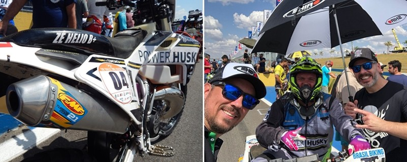 Zé Hélio e a única moto 2T do Sertões, a Husqvarna TX; apoio dos amigos da Shiro Capacetes na largada