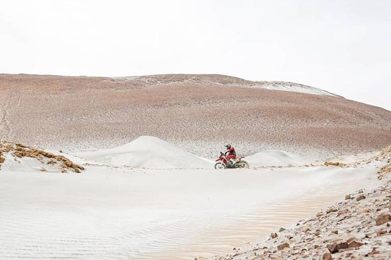 Ricky, líder do Rally Dakar, no meio da imensidão de areia do Peru - Foto: Dakar-DPPI