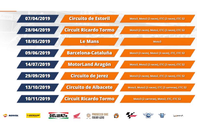 Calendário do Europeu de Motovelocidade, o FIM CEV Repsol, em 2019