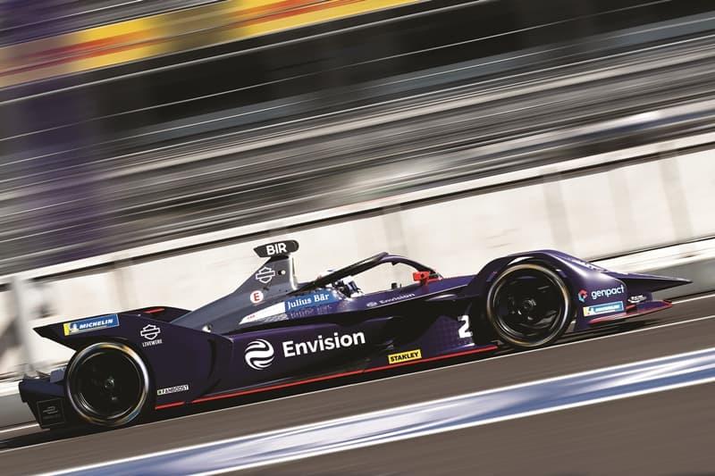 Carro da equipe Envision Virgin Racing, da Fórmula E, com patrocínio da Harley-Davidson