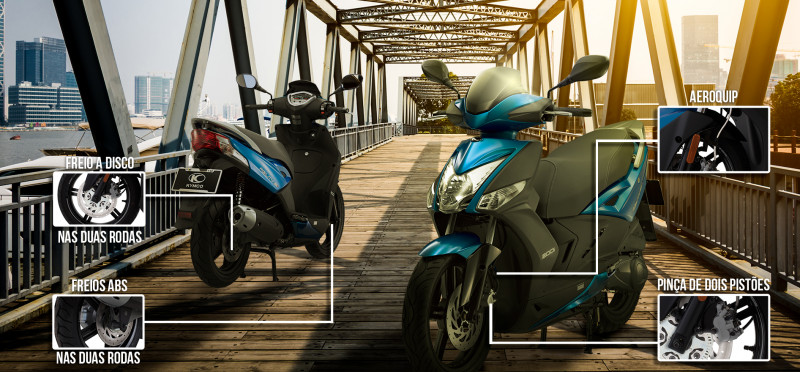 Sistema de freios é um dos pontos altos do scooter. Há ABS nas duas rodas, discos grandes e até aerokip