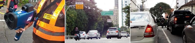 O radar móvel para multar, a proibição de motos na Marginal Pinheiros e corredores cada vez mais estreitos; a moto na alça de mira