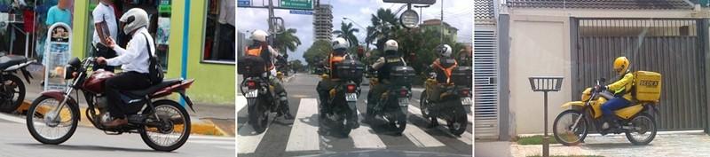 Falar ao celular (na moto em movimento), aguardar o semáforo abrir sobre a faixa de pedestres e trafegar na calçada; três infrações muito comuns