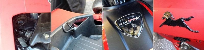Entrada USB sob o banco do piloto, que abre puxando a alça sob o banco do garupa; cavalinhos e adesivos especiais da TVS, e nada de Dafra na moto