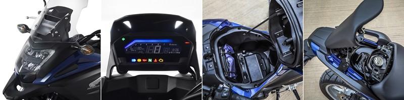 Farol em LED, painel LCD,  porta-capacete e tanque de combustível sob o banco