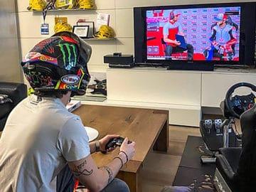 Francesco Bagnaia treinando para a Virtual Race deste fim de semana